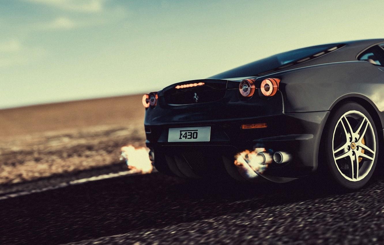 Photo wallpaper fire, flame, ferrari, black, f430, speed, 430