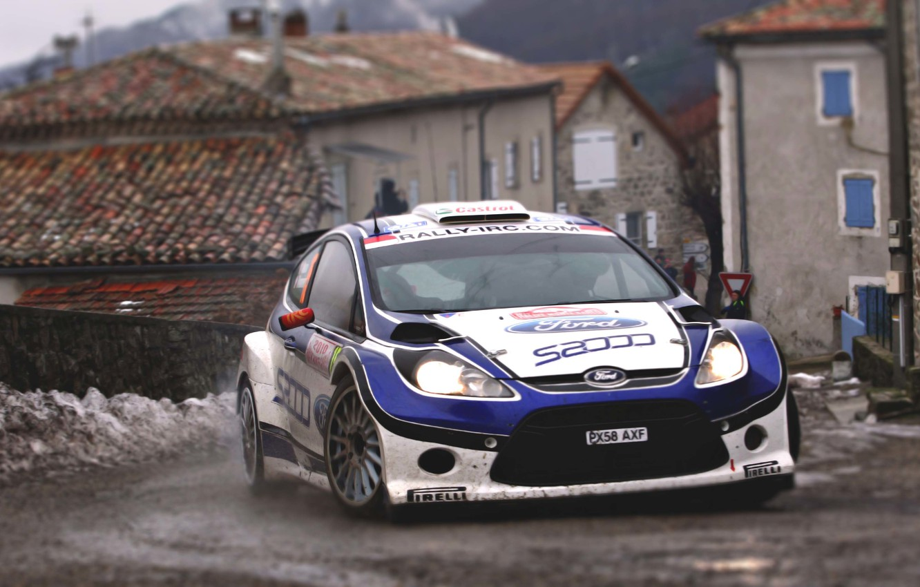 Photo wallpaper Ford, Auto, The city, Sport, Turn, Race, Asphalt, The hood, WRC, the front, Rally, Rally, …