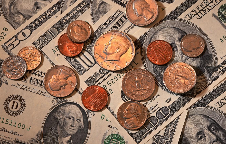 Photo wallpaper Eagle, Benjamin Franklin, Washington, money, dollars, coins