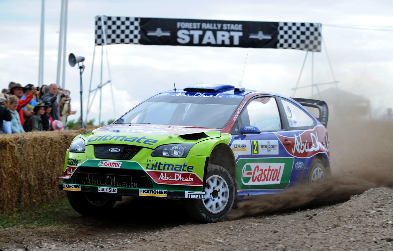 Photo wallpaper Ford, Auto, Sport, Machine, Race, Focus, WRC, Rally, Rally, Focus, Start, The front