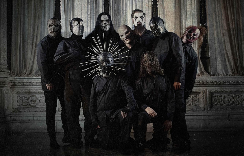 Photo wallpaper Slipknot, Nu metal, Groove, Corey Taylor, Sid Wilson, Chris Fehn, Craig Jones, Shawn Crahan, Jay …