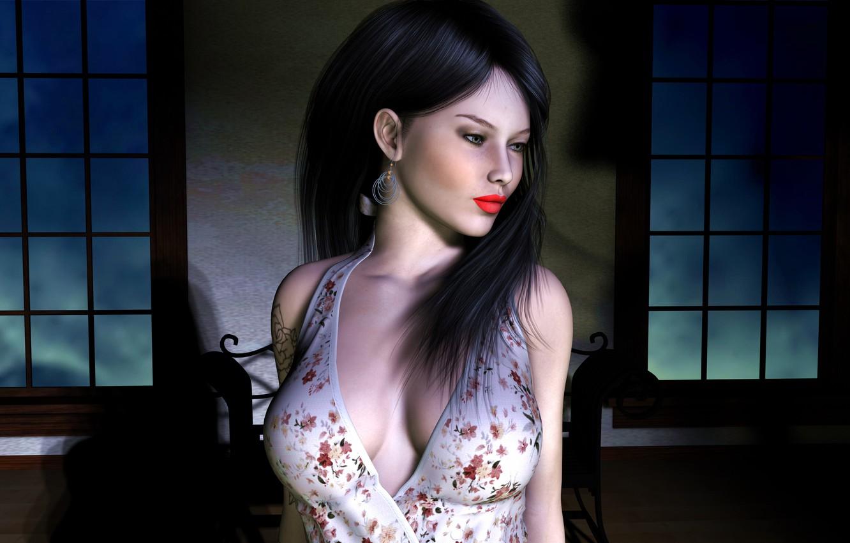 Photo wallpaper girl, face, rendering, room, hair, Windows, earrings, makeup, tattoo, black, glsv