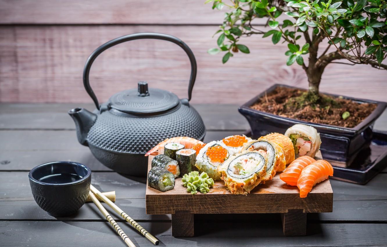 Photo wallpaper tree, kettle, rolls, sushi, sushi, rolls, Japanese cuisine, soy sauce, soy sauce, Japanese cuisine, tea …