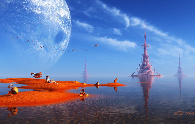 Photo wallpaper sand, water, girl, landscape, birds, transport, planet, creatures, tower, fantasy world, render