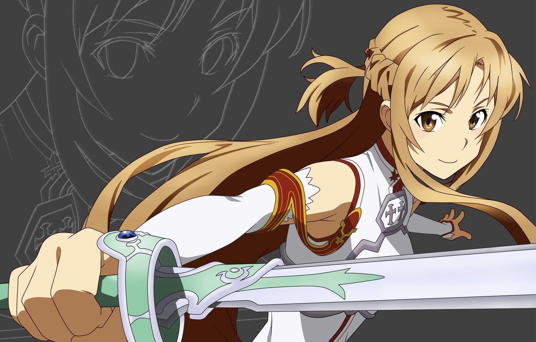 Photo wallpaper eyes, look, sword, Anime, sword art online, Sword Art Online, asuna, Asuna