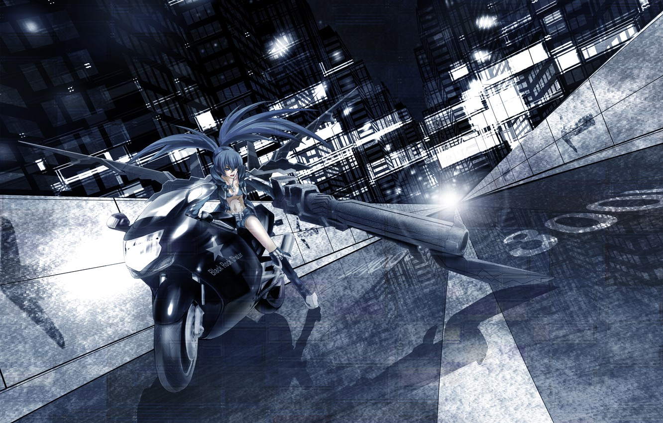 Photo wallpaper road, girl, light, the city, lights, weapons, home, anime, art, motorcycle, black rock shooter, insane …