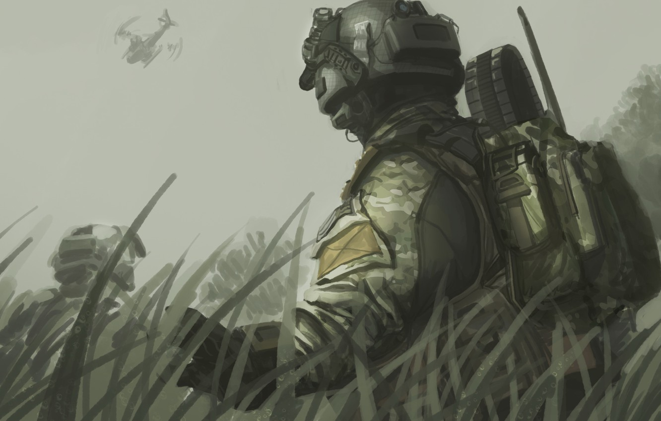 Photo wallpaper the sky, grass, figure, art, helicopter, helmet, Call of Duty, backpack, fighters, Black Ops 2