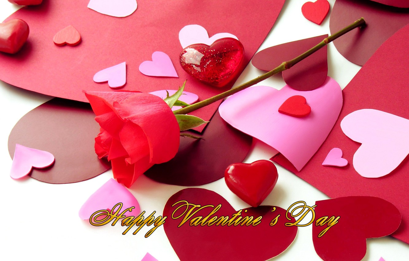 Photo wallpaper photo, Flowers, Heart, Roses, Holiday, Valentine's day