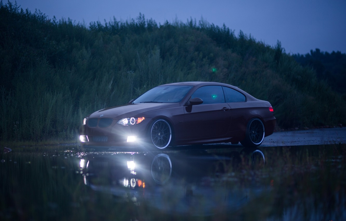 Photo wallpaper red, bmw, BMW, red, 335i, headlights, e92, puddle reflection