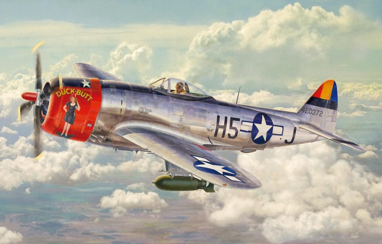 Photo wallpaper aircraft, war, art, airplane, painting, aviation, ww2, american fighter, P 47 Thunderbolt