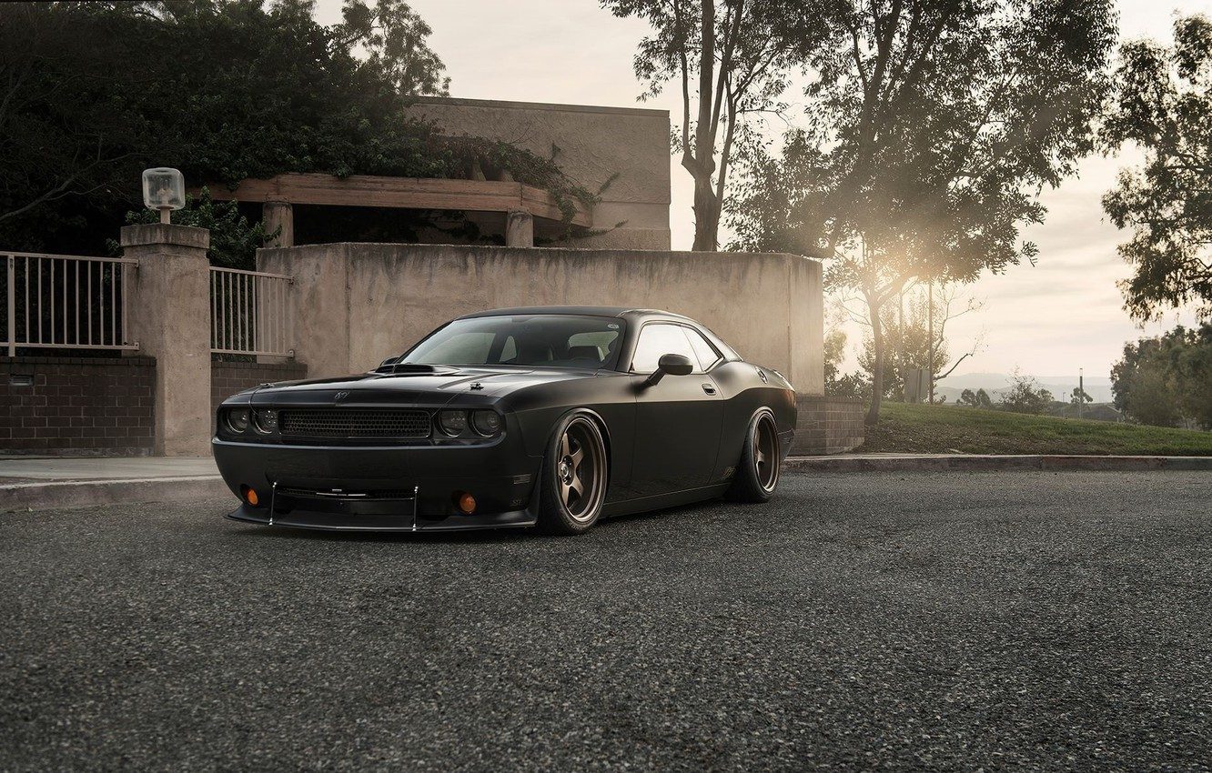 Photo wallpaper Muscle, Dodge, Challenger, Car, Front, Black, Sun, Tuning, R/T, Wheels, Ligth