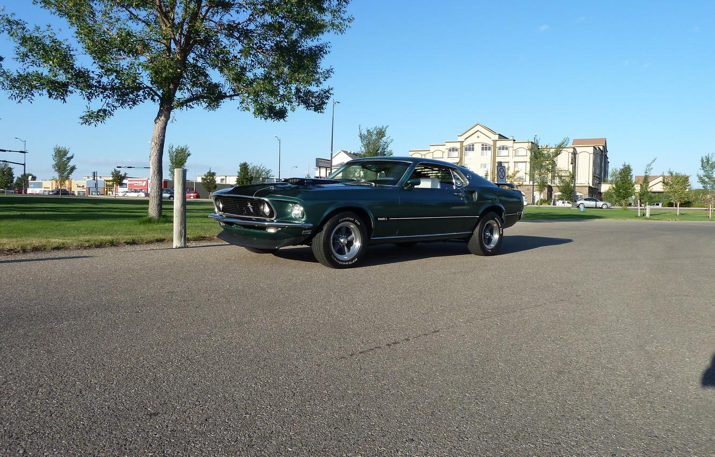 Photo wallpaper Mustang, Ford, 1969, Green, Musclecar, Mach 1, Mach1