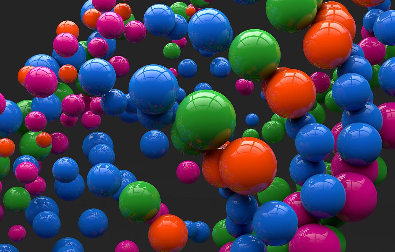 Photo wallpaper balls, reflection, balls, colored, art, grey background, sphere