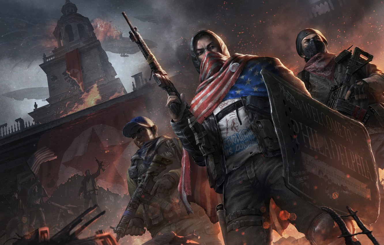 Photo wallpaper fire, tower, machine, soldiers, shield, the rebels, Homefront: The Revolution