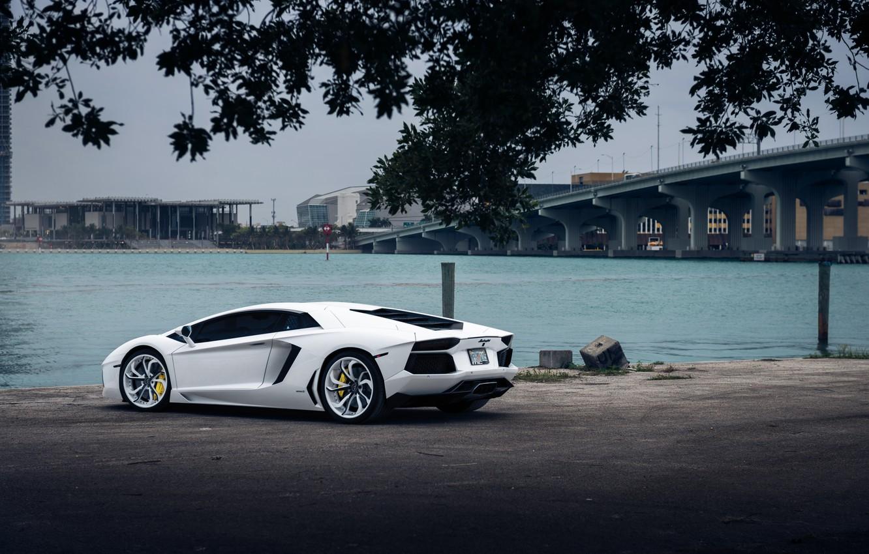 Photo wallpaper Lamborghini, White, Aventador, Vellano MC Customs