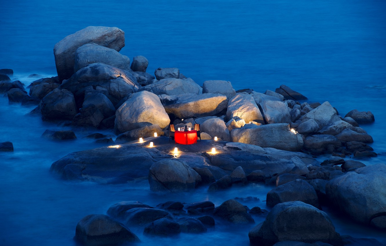 Photo wallpaper stones, the ocean, romance, the evening, candles, lights, table