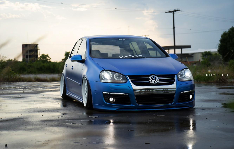 Photo wallpaper volkswagen, golf, blue, tuning, germany, low, r32, stance, mk3, vr6, dapper