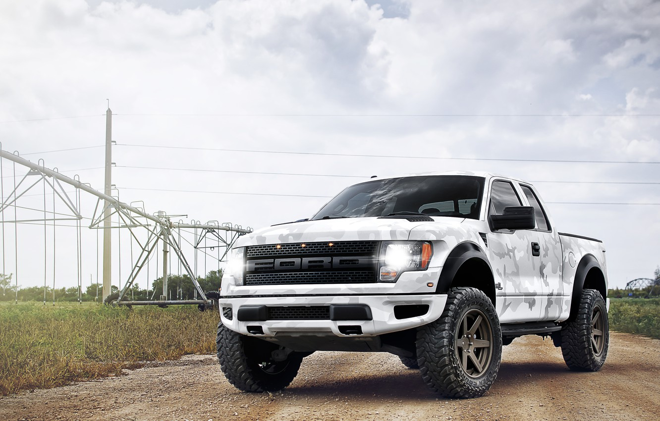 Photo wallpaper white, the sky, clouds, Ford, white, Ford, Raptor, pickup, Raptor, power lines, F-150, SVT, power …
