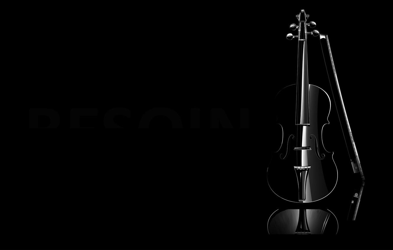Photo wallpaper music, violin, b/W, black background, classic, violin, the links