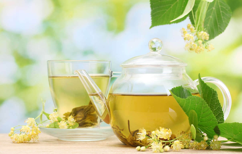 Photo wallpaper leaves, flowers, tea, mug, Cup, drink, saucer, teapot