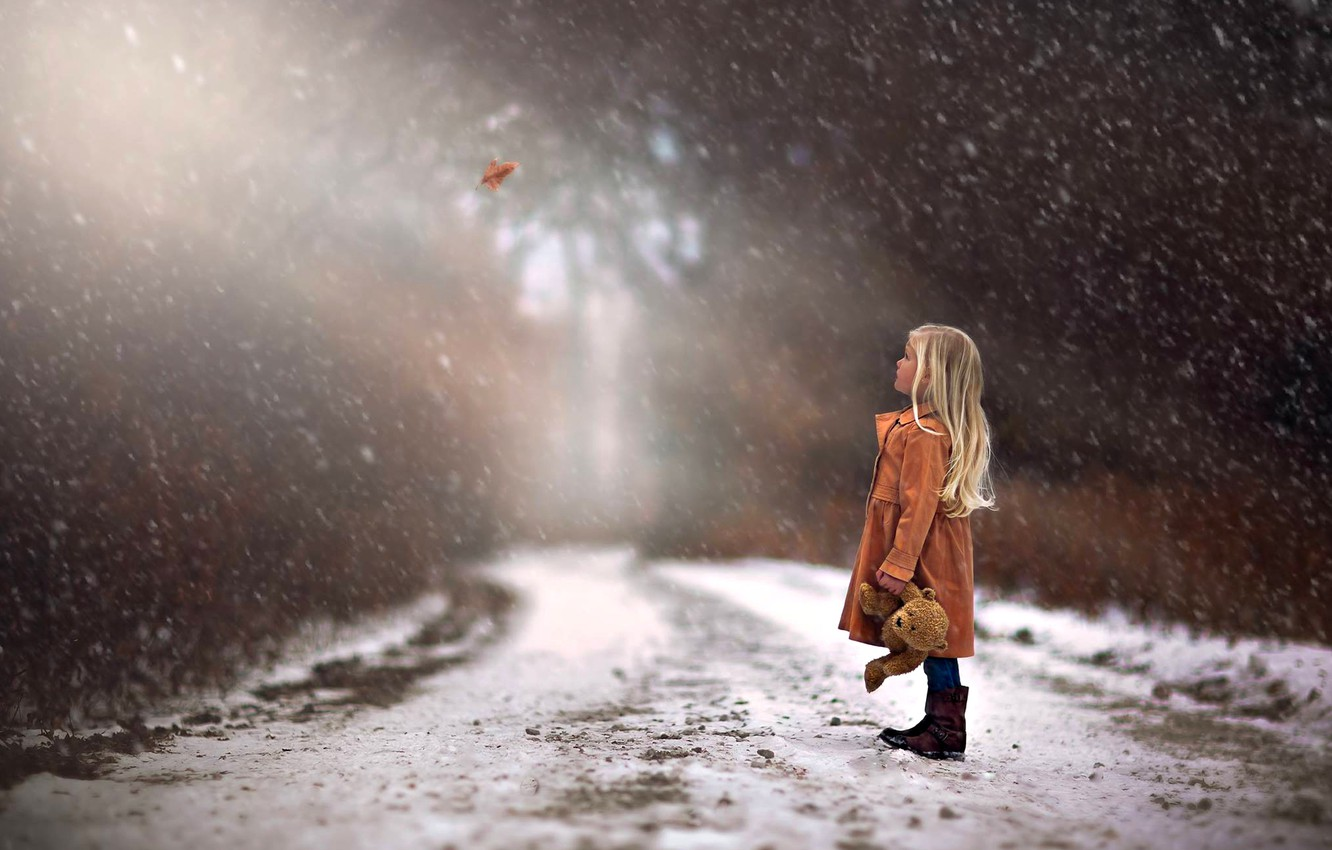 Photo wallpaper winter, road, autumn, forest, trees, Nature, girl