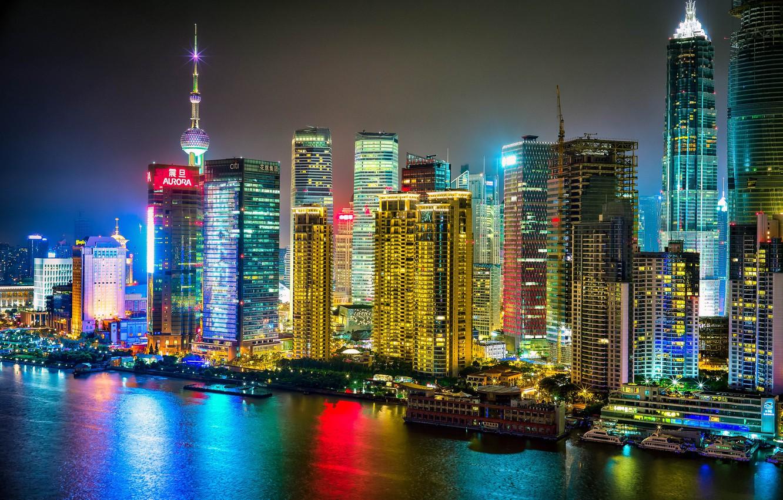 Photo wallpaper river, China, building, China, Shanghai, Shanghai, night city, skyscrapers
