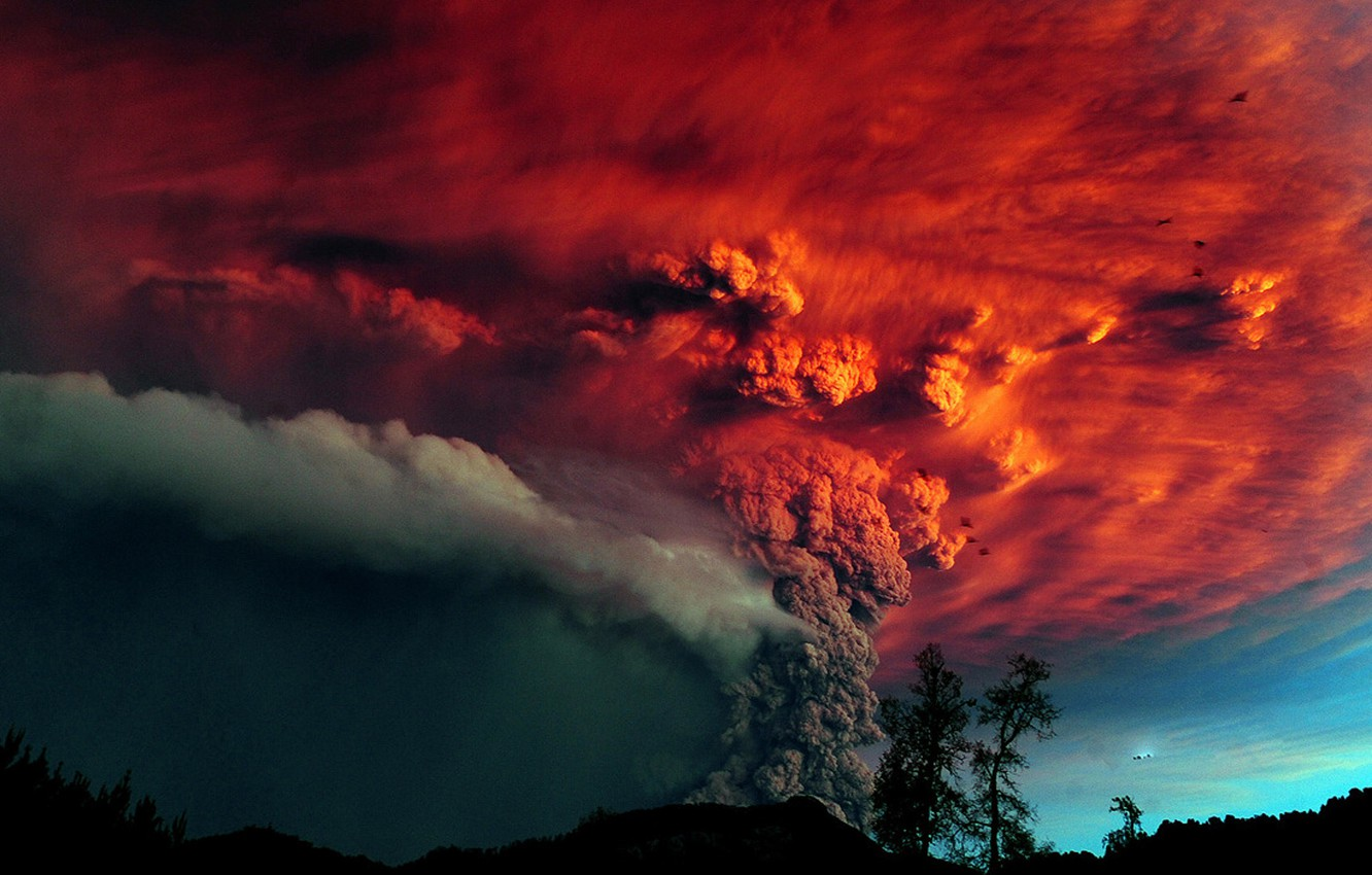 Photo wallpaper trees, ash, The volcano, the eruption, red sky