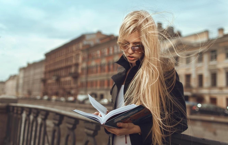 Photo wallpaper girl, street, book, reads
