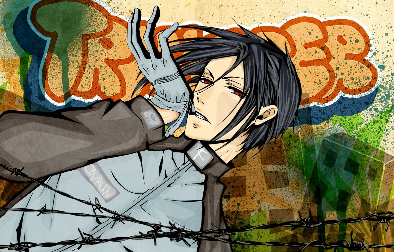 Photo wallpaper anime, art, Sebastian Michaelis, dark Butler