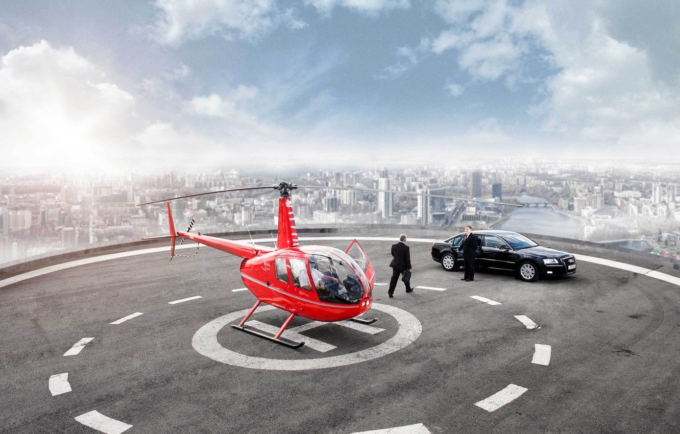 Photo wallpaper landscape, the city, river, Audi, audi, Wallpaper, photoshop, Playground, wallpapers, skyscraper, Helicopter, helicopter, businessman