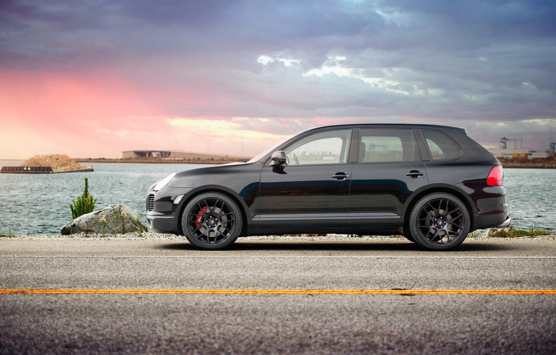 Photo wallpaper sunset, black, port, profile, cayenne, porsche, Porsche, black