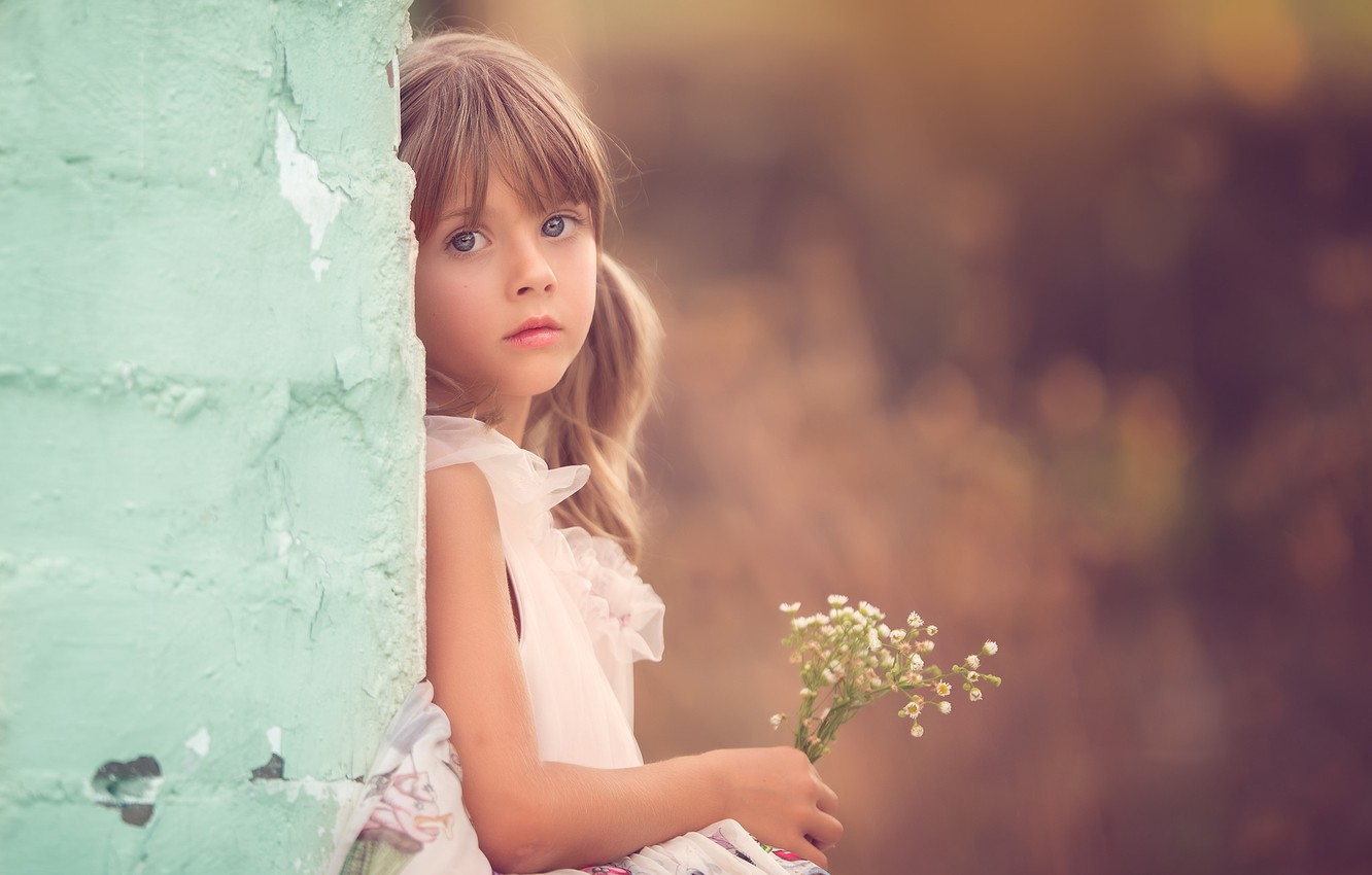 Photo wallpaper look, flowers, girl, bokeh
