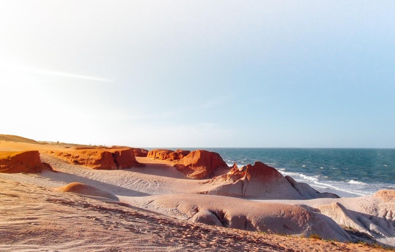 Photo wallpaper beach, sea, sunset