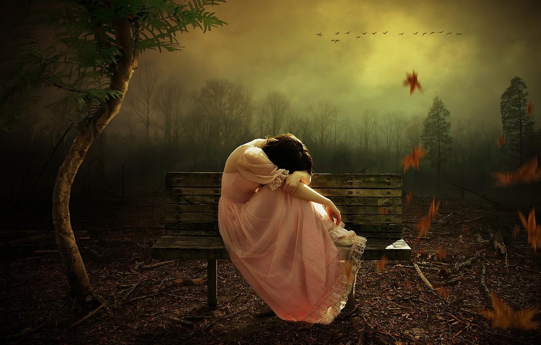 Photo wallpaper autumn, girl, bench