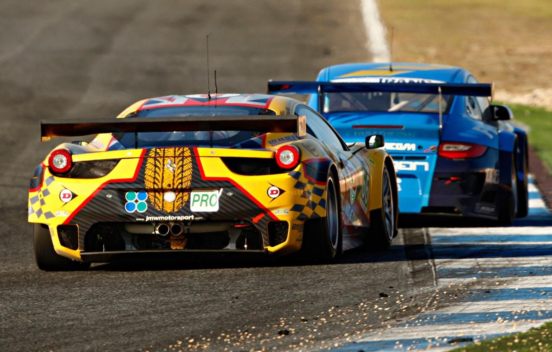 Photo wallpaper 911, Porsche, Ferrari, Ferrari, Porsche, 458, rear view, Italia, racing car, GTC