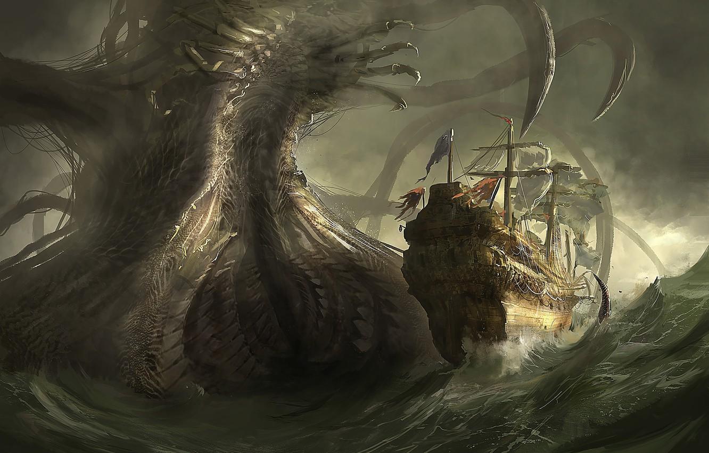 Wallpaper Sea Danger Ship Monster Art Giant Images For