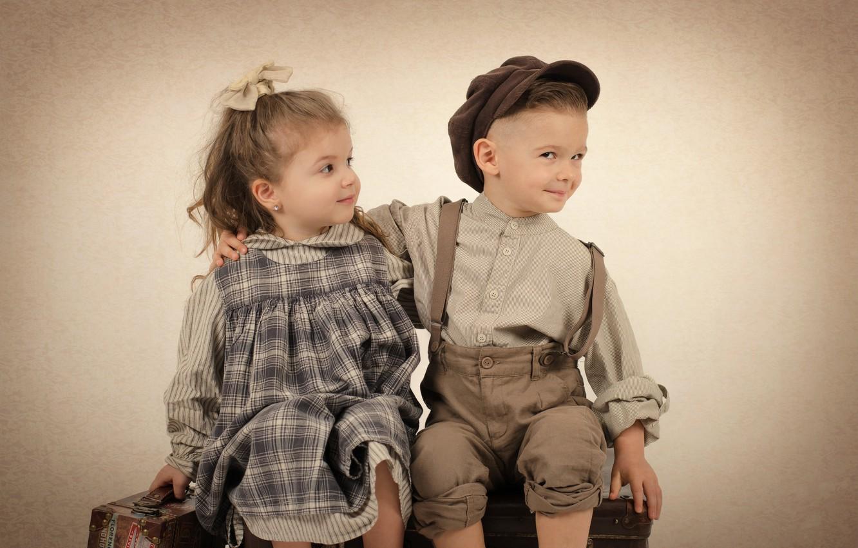 Photo wallpaper children, retro, boy, girl, girl, boy, children