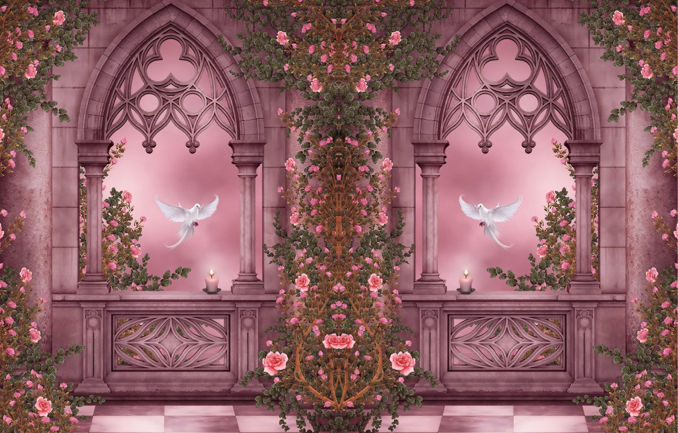 Photo wallpaper flowers, Windows, roses, candles, pigeons, columns, arch, garland, flowers, roses, candles, doves, columns, arches, pigeons, …