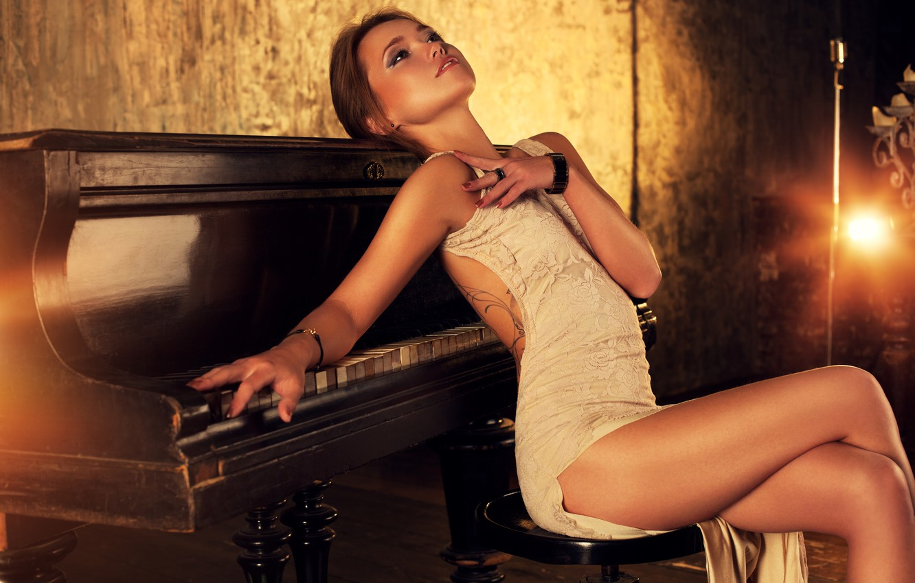 Photo wallpaper girl, pose, figure, dress, piano, tattoo, hairstyle, brown hair, legs, beautiful, piano, sexy