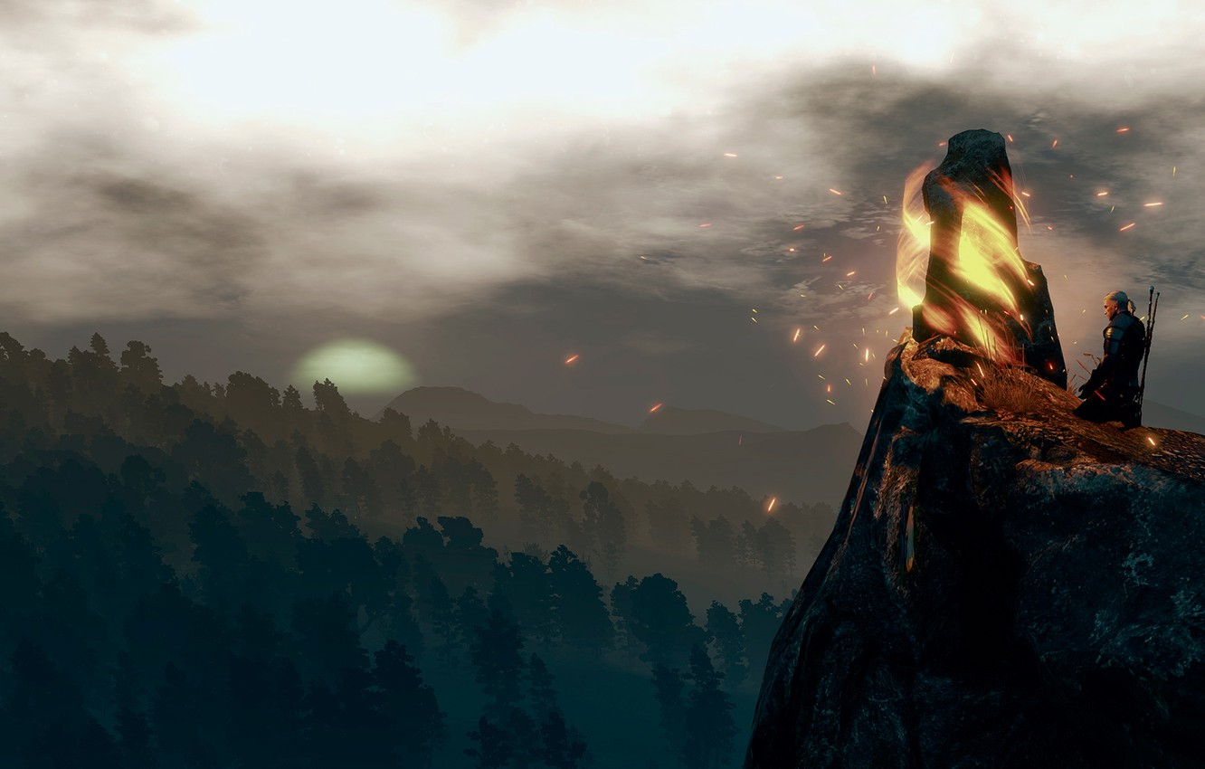 Photo wallpaper landscape, The Witcher, Meditation, The Witcher 3:Wild Hunt, a place of power