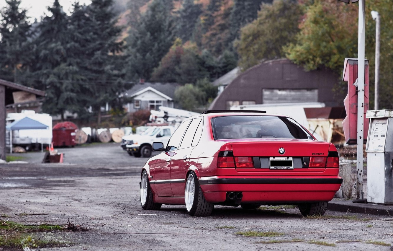Photo wallpaper BMW, red, tuning, E34, 532i