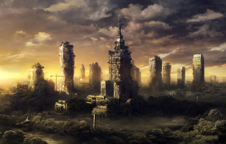 Photo wallpaper the city, ruins, postapokalipsis