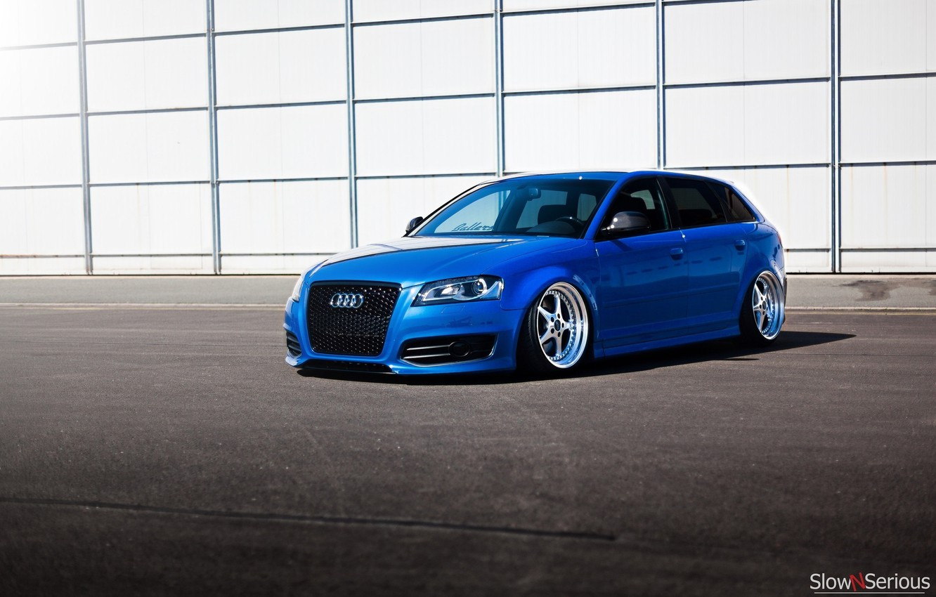 Photo wallpaper Audi, audi, wheels, blue, tuning, front, face, low, stance, clean