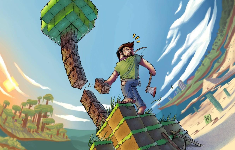 Photo wallpaper the game, pixels, game, minecraft, minecraft