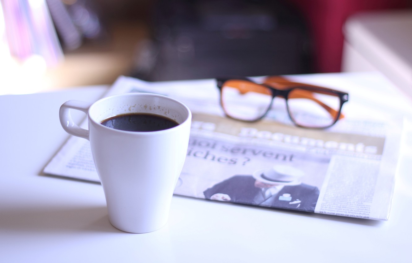 Photo wallpaper glasses, Cup, newspaper