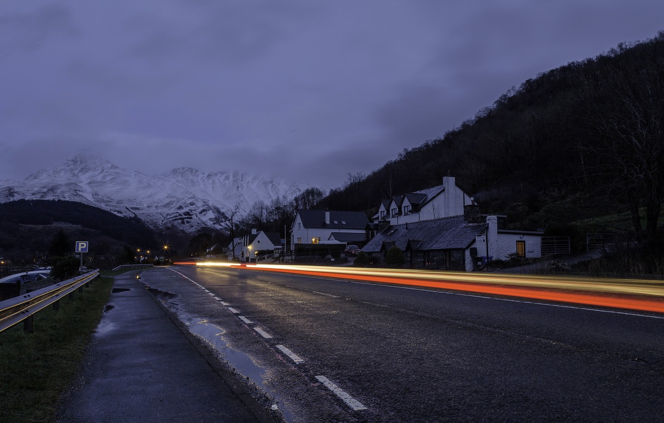 Photo wallpaper winter, road, clouds, light, mountains, night, home, line, village, rainy