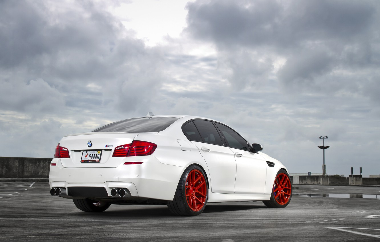 Photo wallpaper white, the sky, clouds, BMW, BMW, white, back, f10