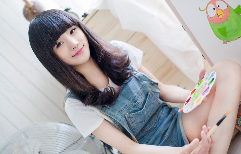 Photo wallpaper mood, paint, figure, girl, Asian