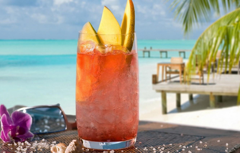 Photo wallpaper sea, beach, Palma, drink, melon ice