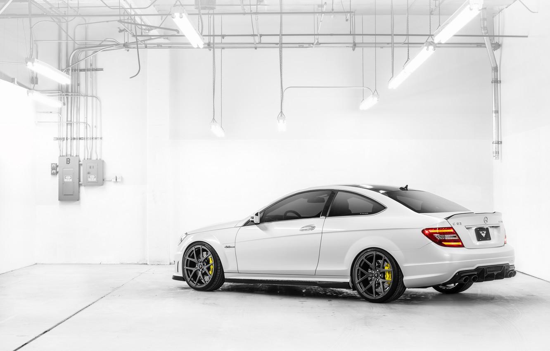 Photo wallpaper white, lamp, Mercedes-Benz, white, AMG, rear, Mercedes Benz, C-Class, C 63